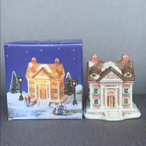 Christmas Village Library Miniature Hand Painted